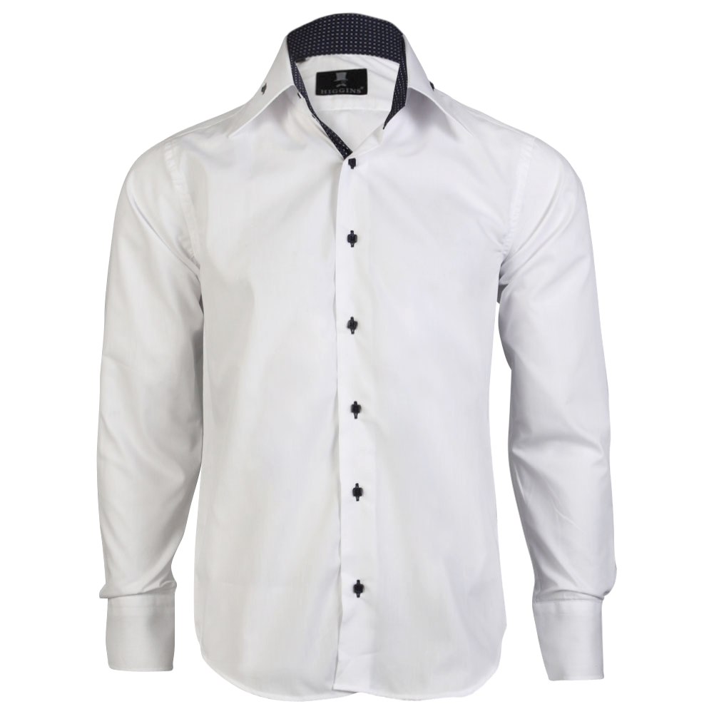 Mens higgins smart formal long sleeve collared button slim for Mens slim white shirt