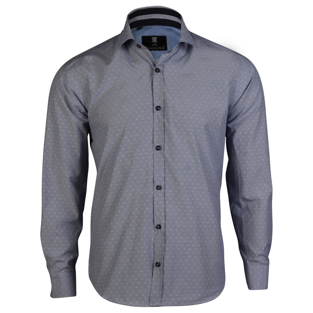 Mens higgins smart formal long sleeve collared button slim for Mens sweater collared shirt