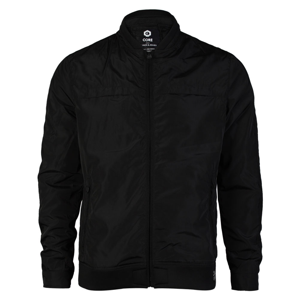 MENS CORE JACK & JONES JOB BLACK ZIP UP WATERPROOF RAIN JACKET ...