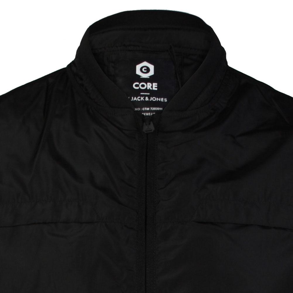 mens core jack jones job black zip up waterproof jacket. Black Bedroom Furniture Sets. Home Design Ideas