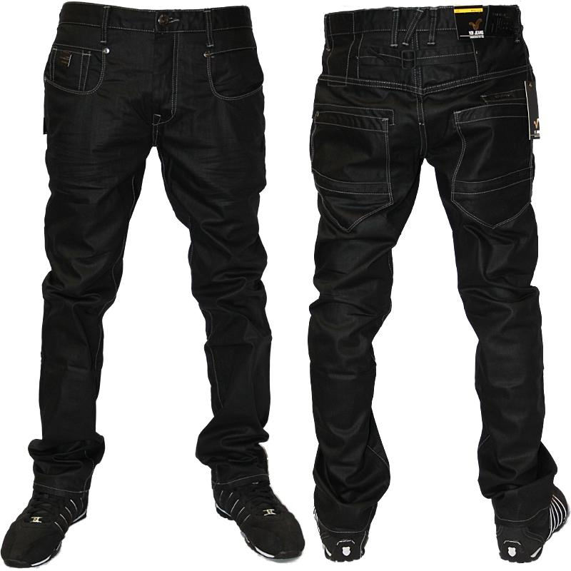 MENS BLACK VOI MUSTANG DESIGNER BRANDED TAPERED FIT DENIM JEANS ...