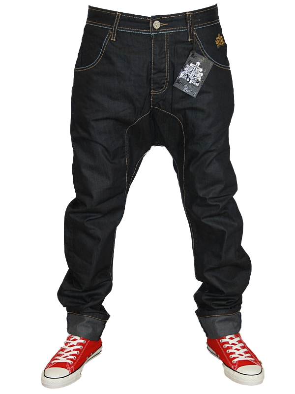E11-MENS-DARK-WASH-ROCK-REVIVAL-518C-DESIGNER-DROP-CROTCH-DENIM-JEANS-ALL-SIZE