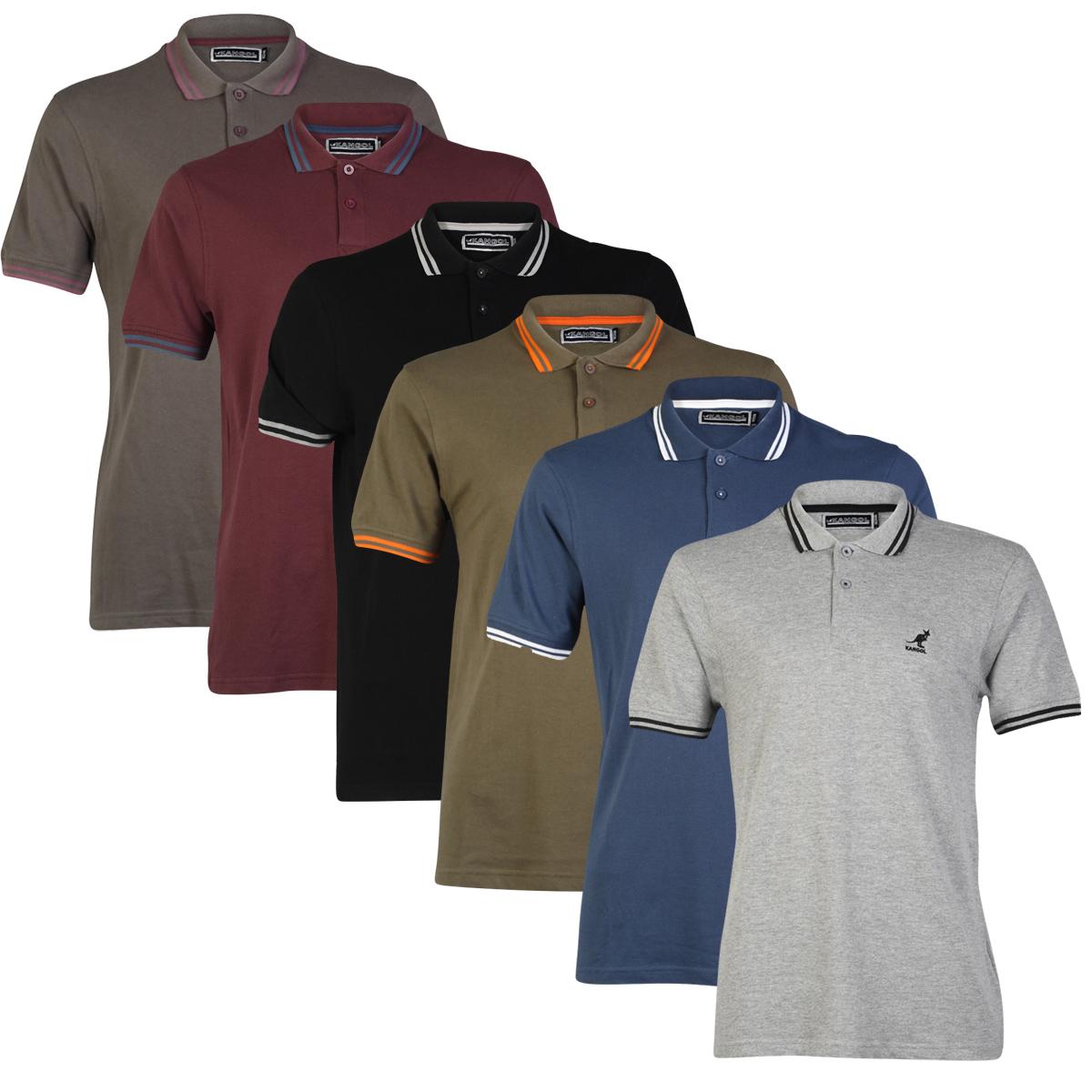 Bb mens kangol striped button polo neck shirt top size s xxl for Xxl mens polo shirts