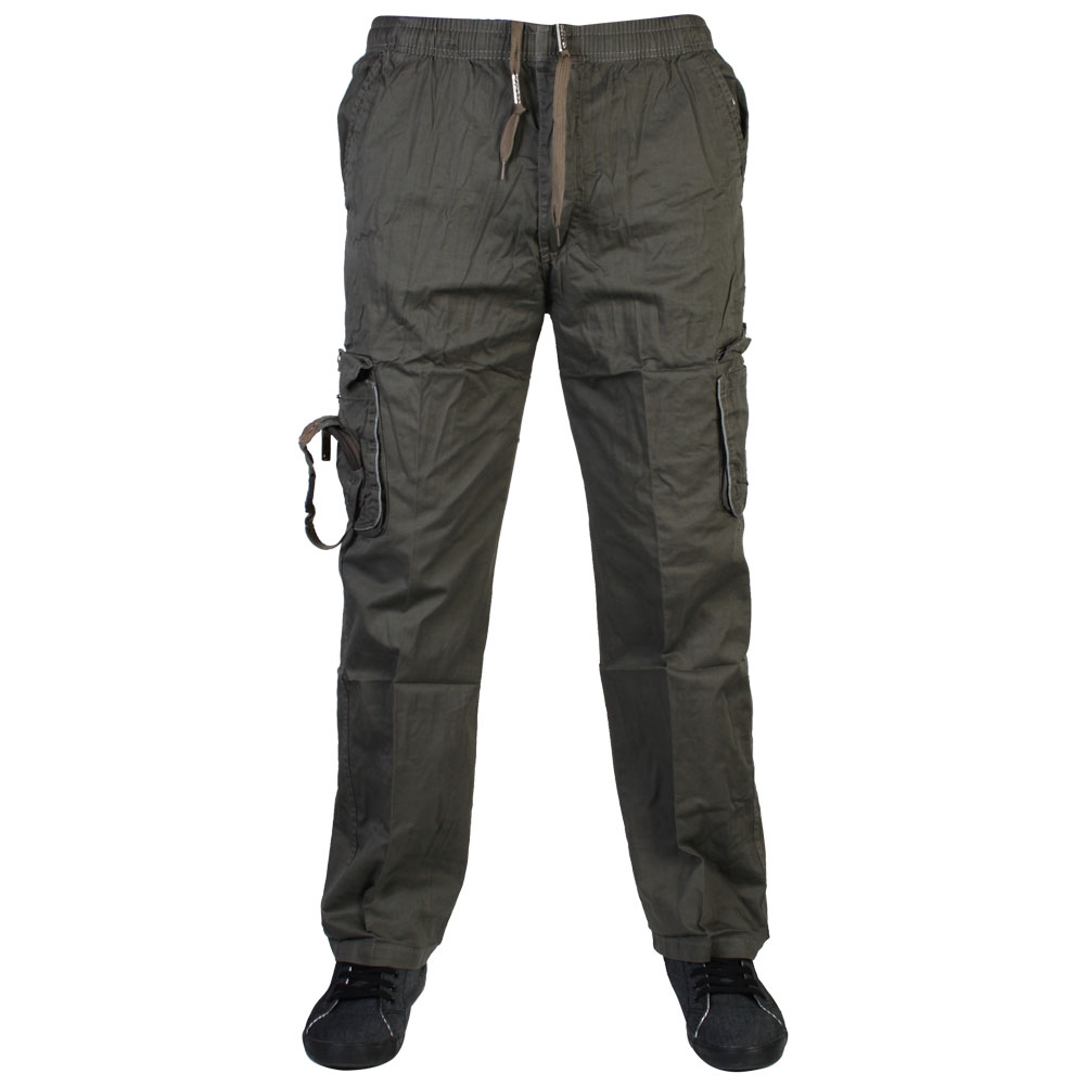 BB MENS DAPU ELASTICATED DRAWSTRING CARGO PANTS COMBAT BOTTOMS ...