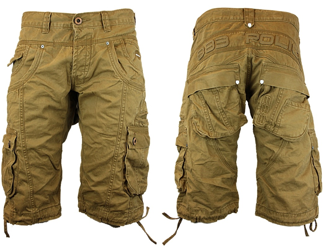 NEW MENS POLICE JEANS 883 SEATTLE DESIGNER LOOSE FIT CARGO SHORTS ...