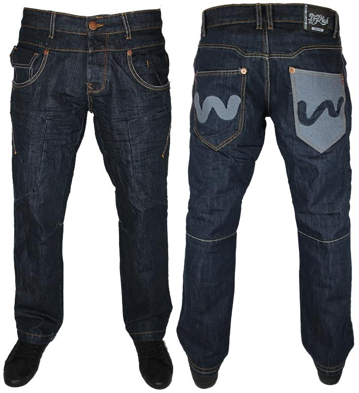 NEW-MENS-DARK-DRY-WASH-MISH-MASH-TAPERED-FIT-DENIM-JEANS-WAIST-30-32-34-36-38