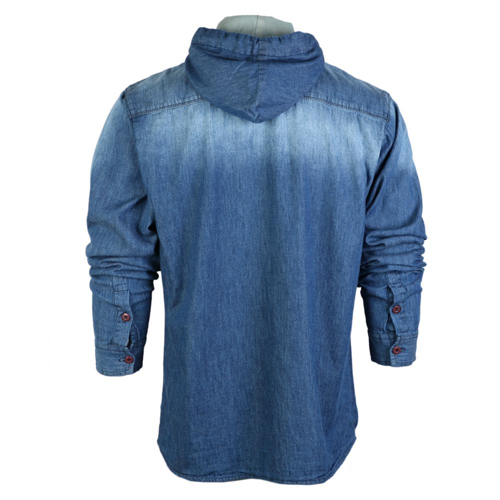 New Mens Krakajak Blue Hooded Long Sleeved Pockets Denim