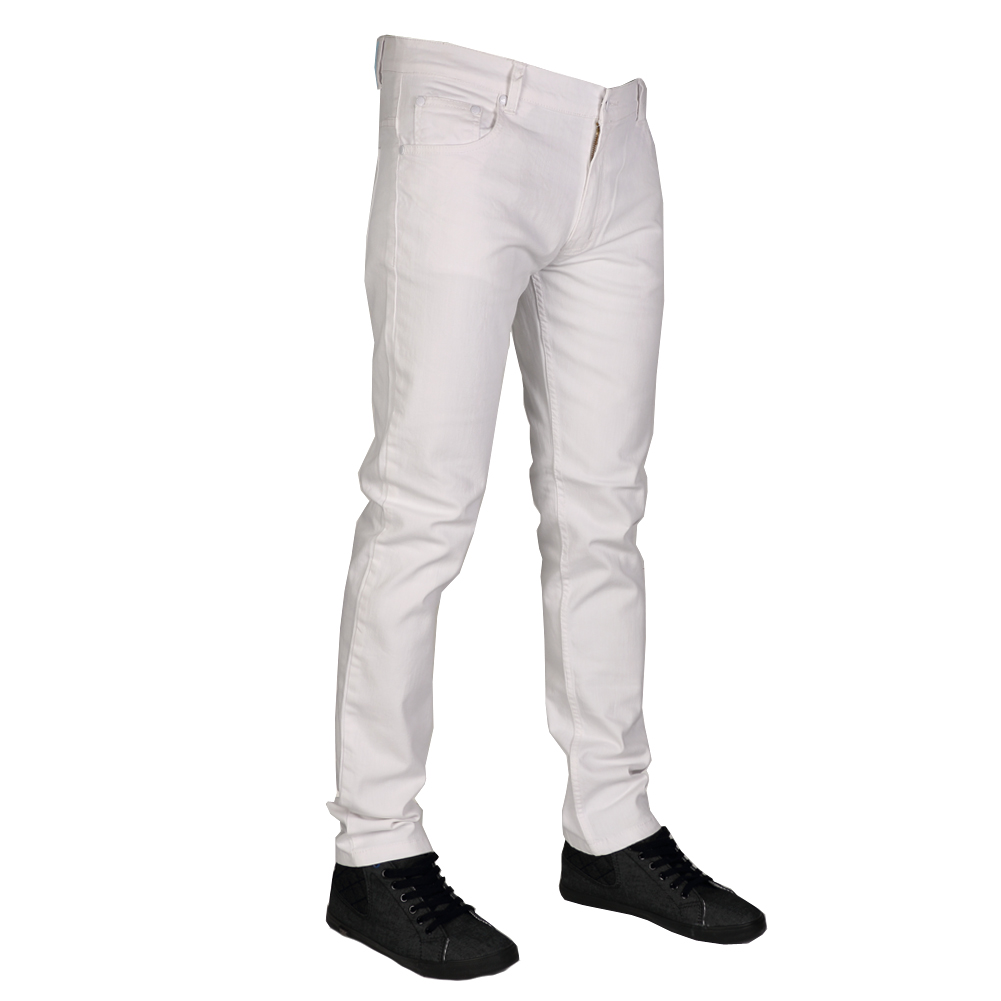 mens white stretch skinny jeans - Jean Yu Beauty