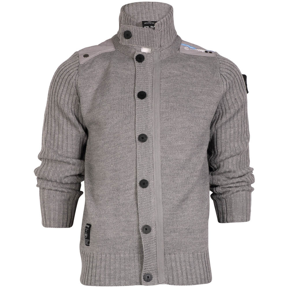 R1 MENS RAWCRAFT BUTTON ZIP UP HIGH NECK KNITTED JACKET CARDIGAN ...