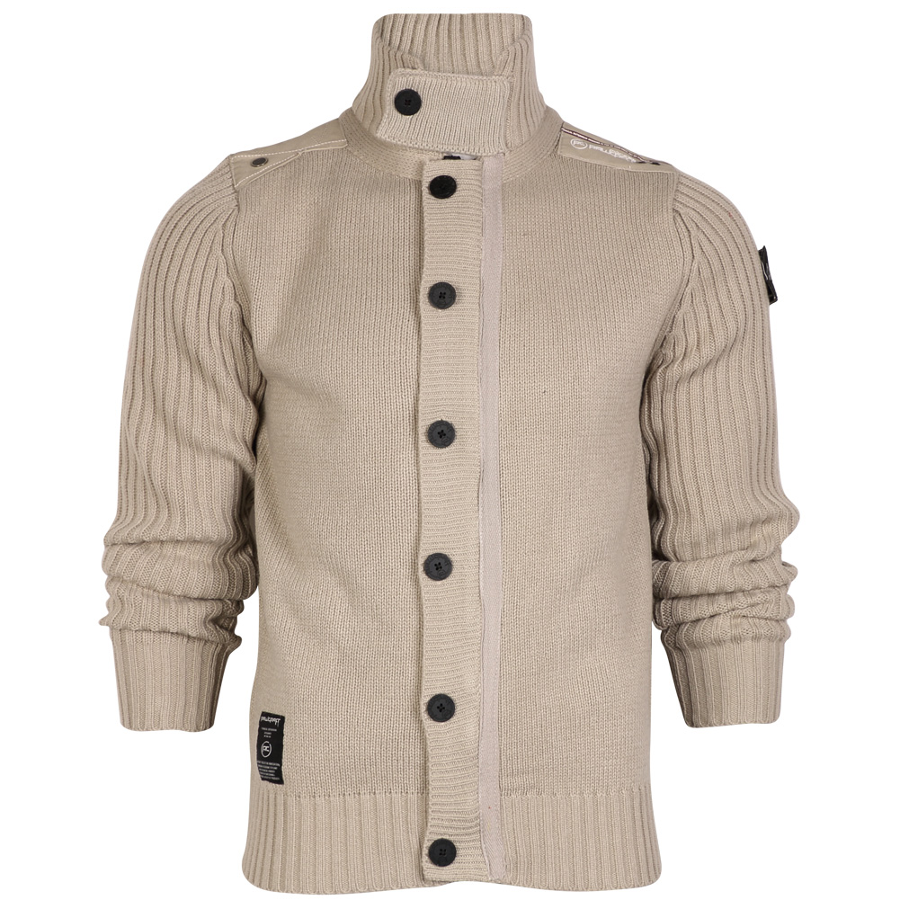 MENS JACKET RAWCRAFT BUTTON ZIP UP HIGH NECK KNITTED CARDIGAN TOP SIZE S-XXL ...