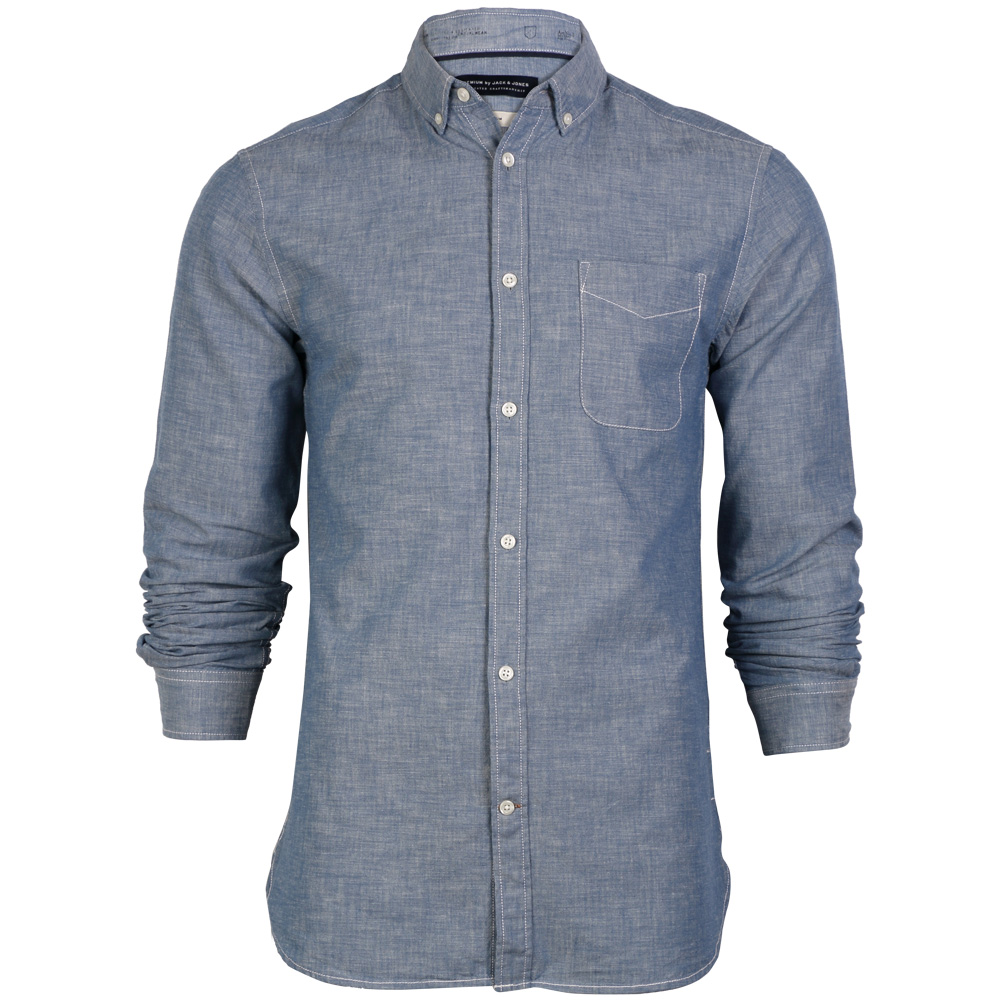 MENS JACK & JONES CHAMBRAY BLUE DENIM LONG SLEEVED COLLARED ...
