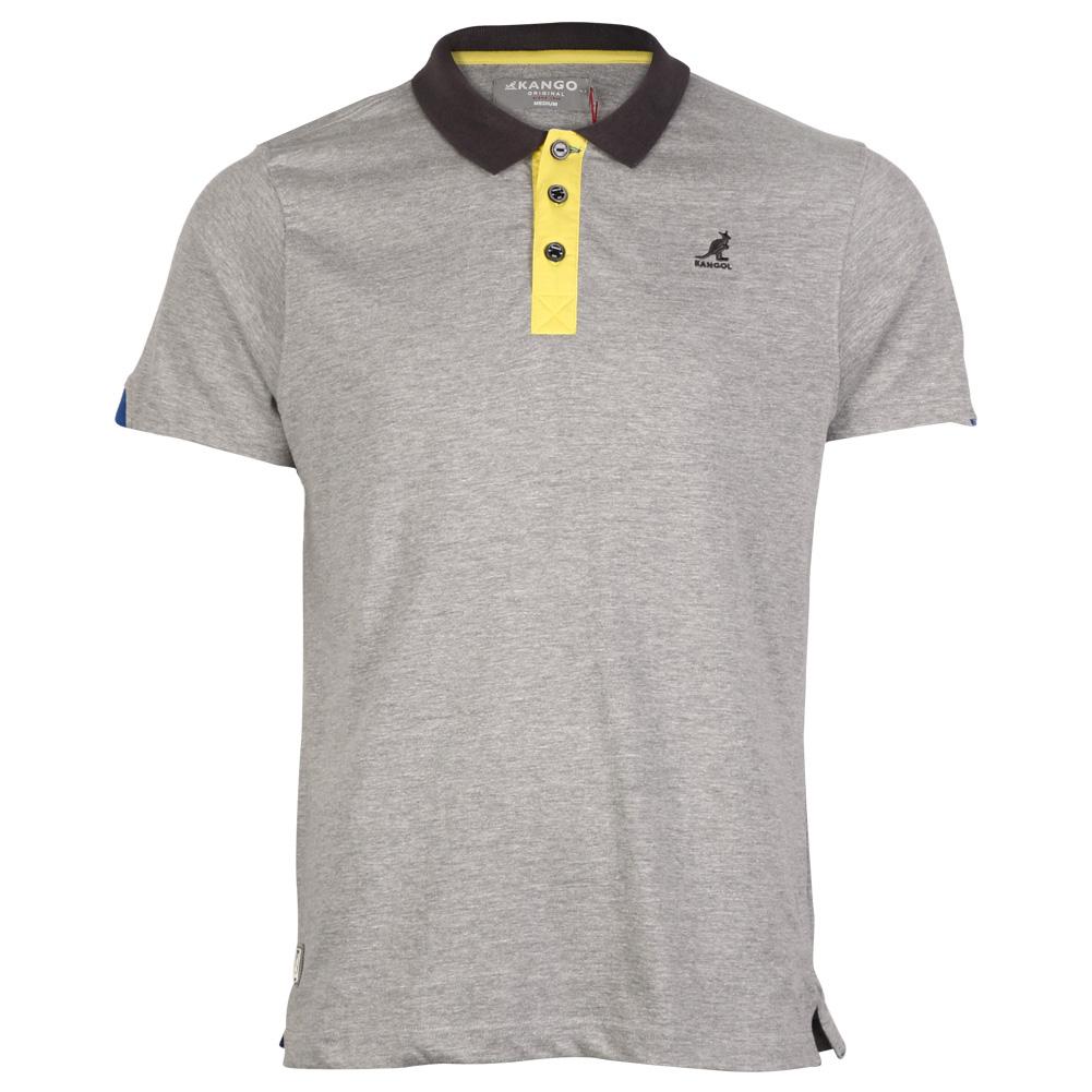 New mens kangol casual button collar short sleeved polo t for Button collar t shirt