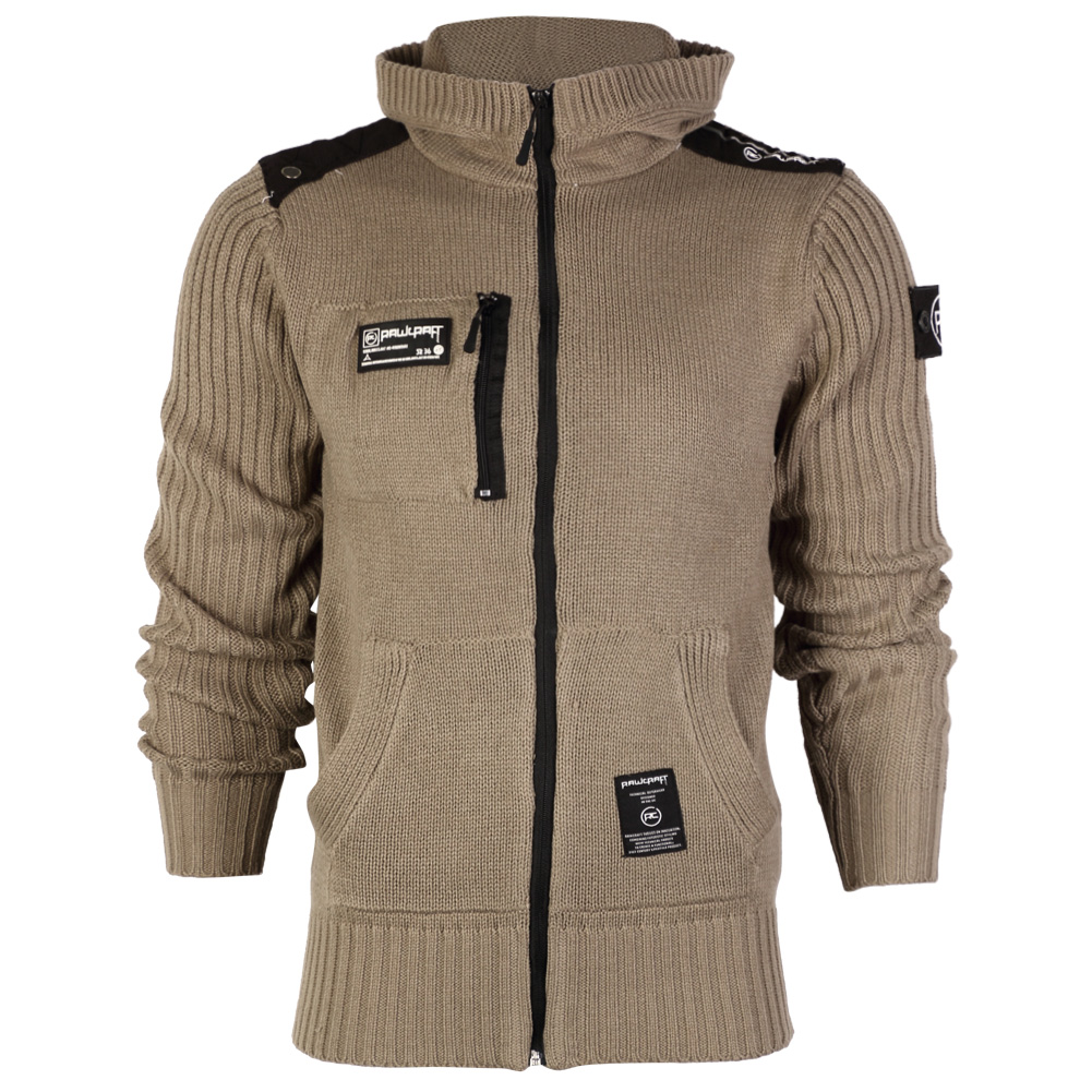 R1 NEW MENS RAWCRAFT ZIP UP HOODED WINTER KNITTED JACKET CARDIGAN TOP SIZE S-...