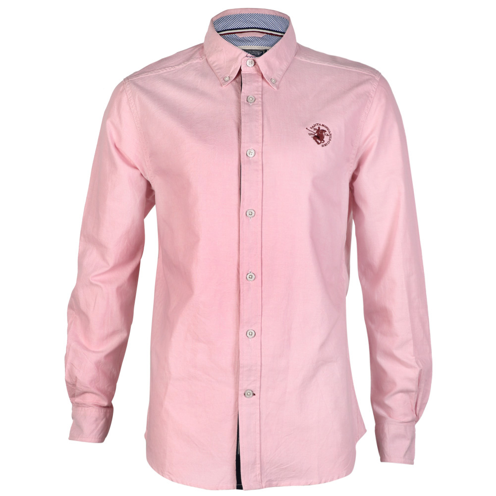 Mens oxford santa monica long sleeve shirt button up for Mens button collar shirts