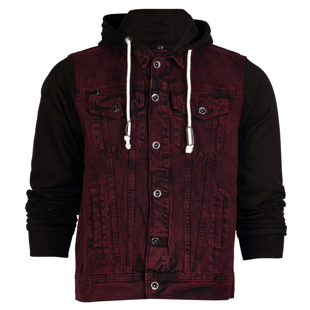 Jean jacket with hoodie men
