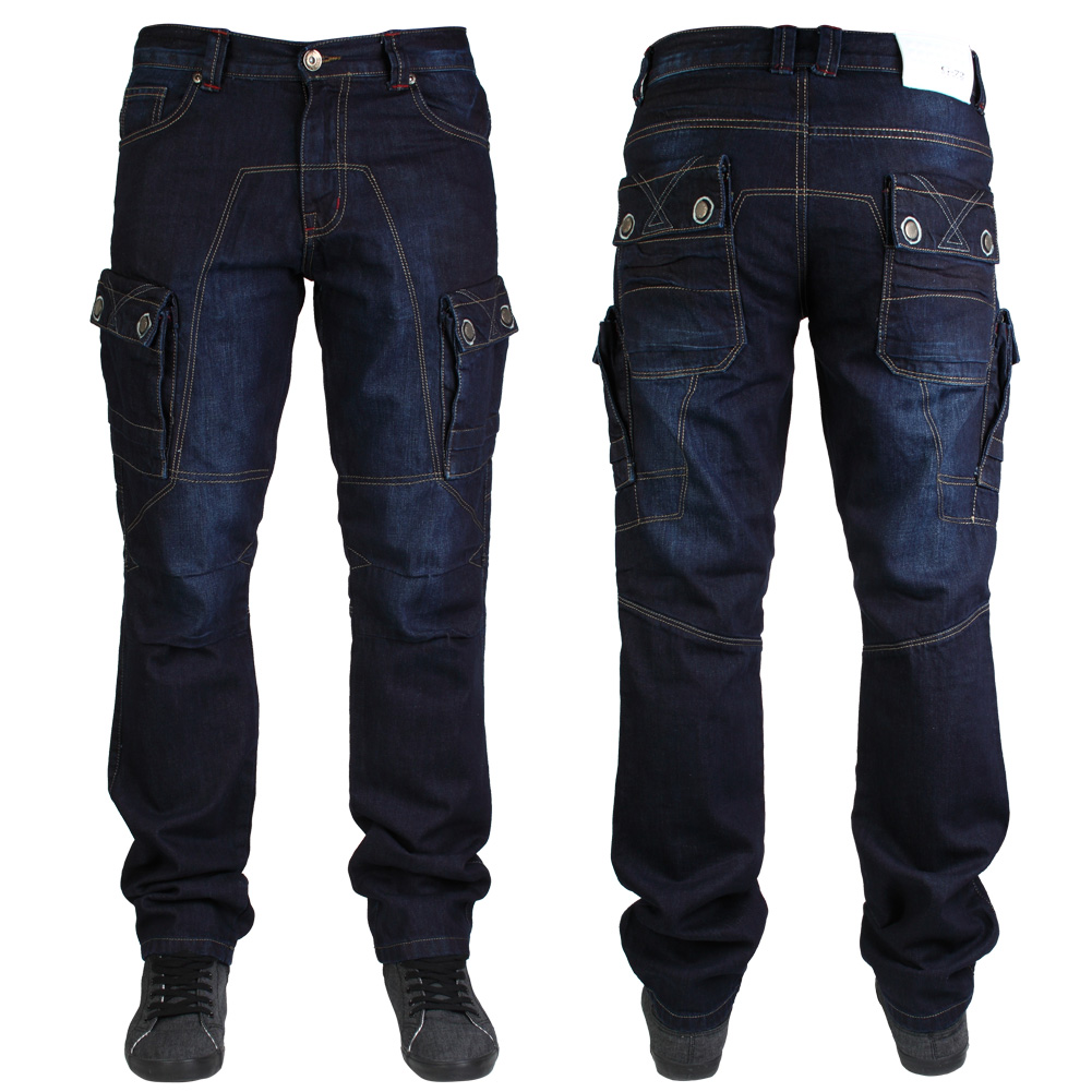 new mens g72 denim gd232 stitched button pockets cargo combat jeans size 30 42 ebay. Black Bedroom Furniture Sets. Home Design Ideas