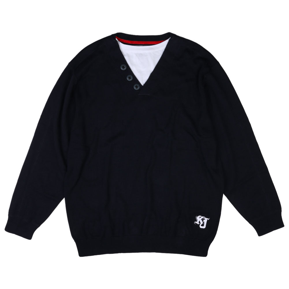 New mens kam jeans navy v neck mock crew neck t shirt for Mock crew neck shirts