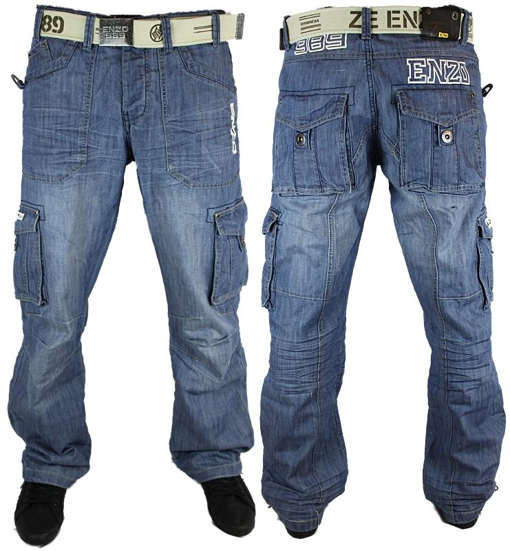 MENS BLUE ENZO EZ111 DESIGNER BRANDED LOOSE FIT JEANS ALL WAIST ...