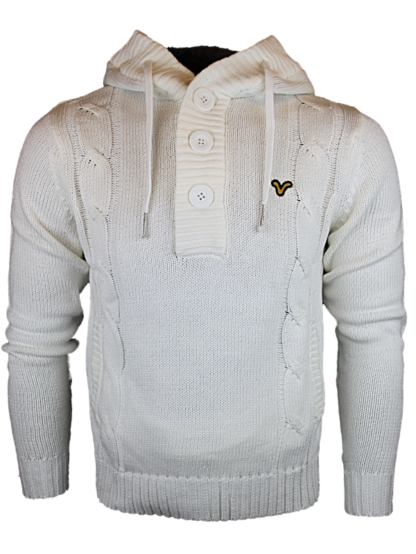 NEW-MENS-VOI-JEANS-WANDERING-GOLD-DESIGNER-KNITTED-HOODED-JUMPER-TOP-SIZES-S-XXL