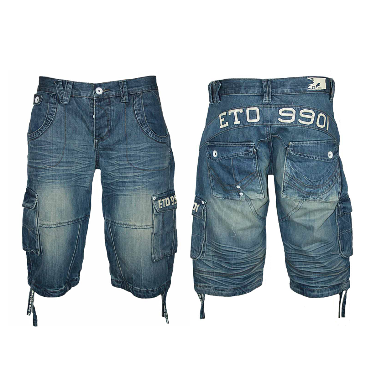 NEW MENS BLUE ETO JEANS EMS92 DESIGNER LOOSE FIT DENIM SHORTS ALL ...