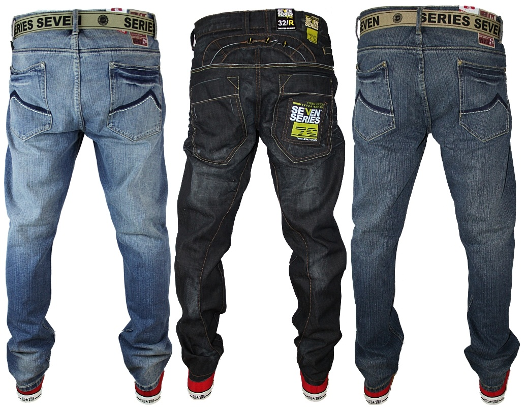shop all our men's jeans. mid rise with zipper fly straight through hip and thigh straight leg from knee to opening.