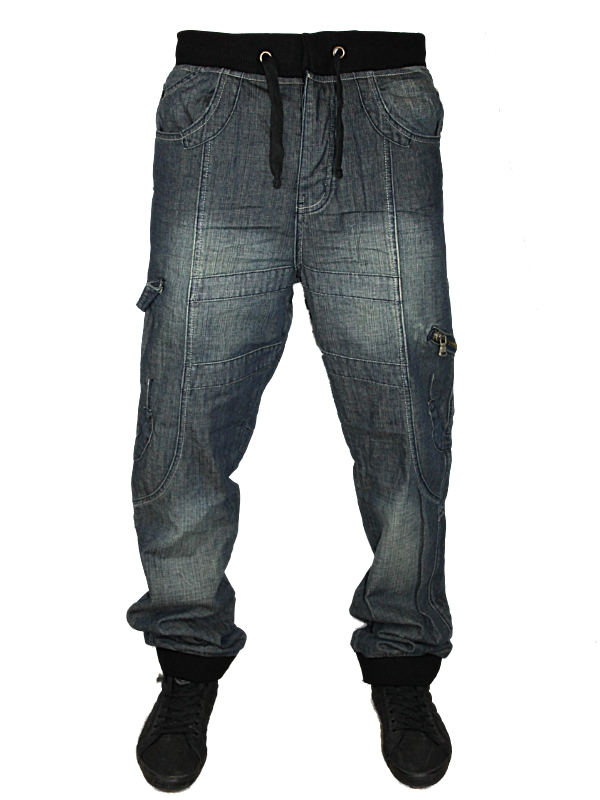 MENS BLUE MCCARTHY RIDER DESIGNER TAPERED FIT CUFFED JEANS ALL ...