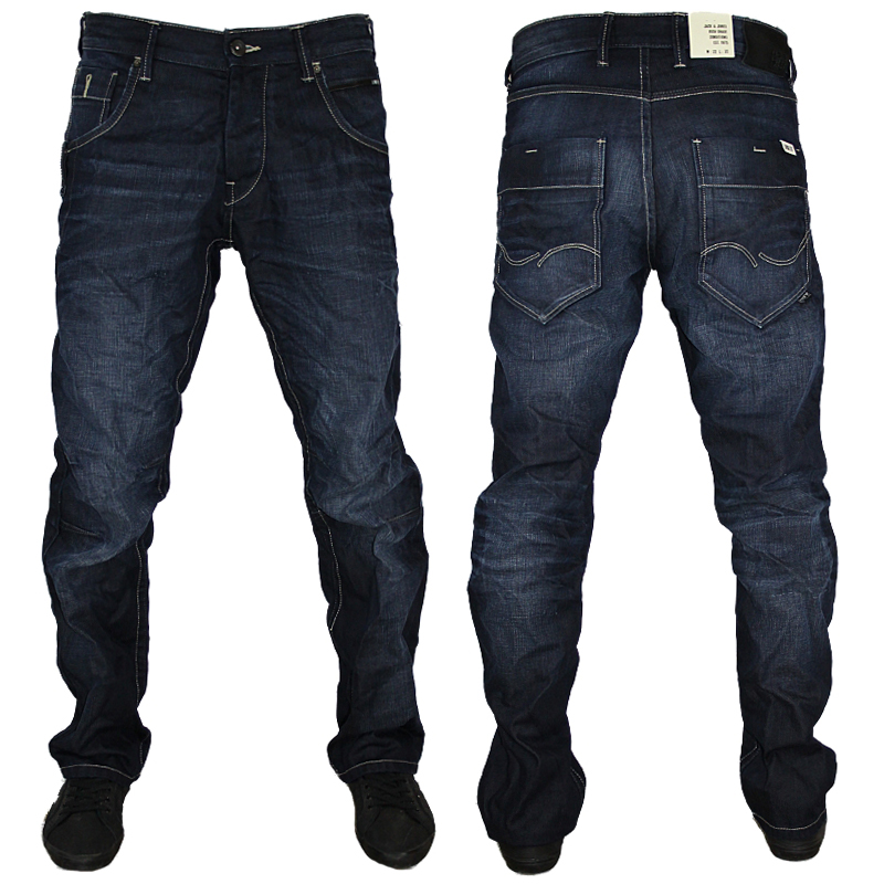mens blue jack jones boxy powel designer loose fit jeans. Black Bedroom Furniture Sets. Home Design Ideas