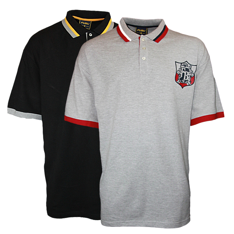 New mens fubu 07901 designer branded polo neck t shirt big for Branded polo t shirts