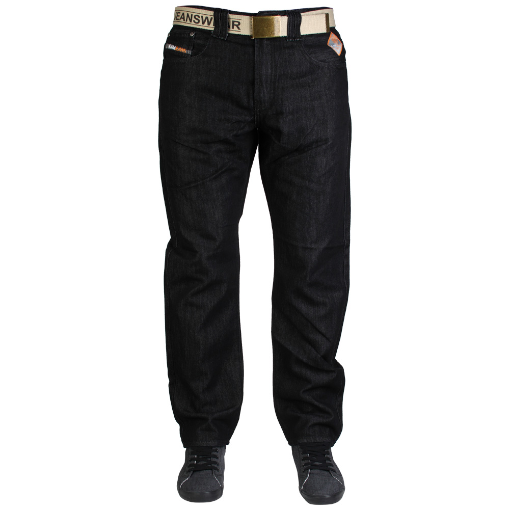 NEW MENS BLACK INDIGO KAM K122-72 DESIGNER SLIM FIT JEANS ALL WAIST & LEG SIZES