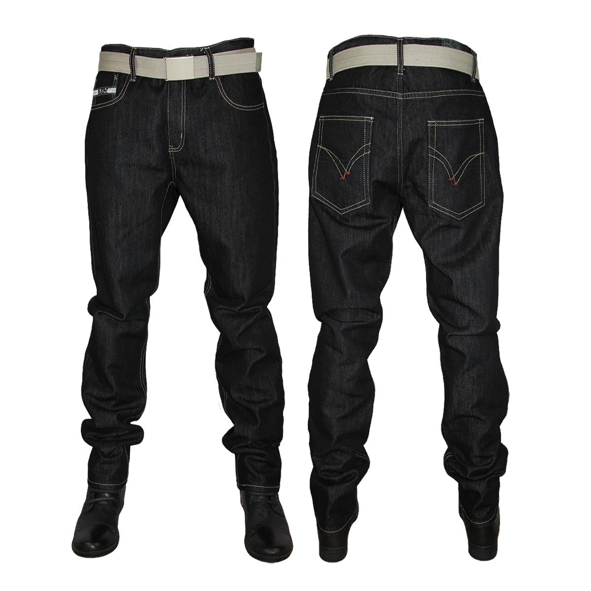 New Mens Black Indigo Kam K122 72 Designer Slim Fit Jeans All Waist Leg Sizes Ebay