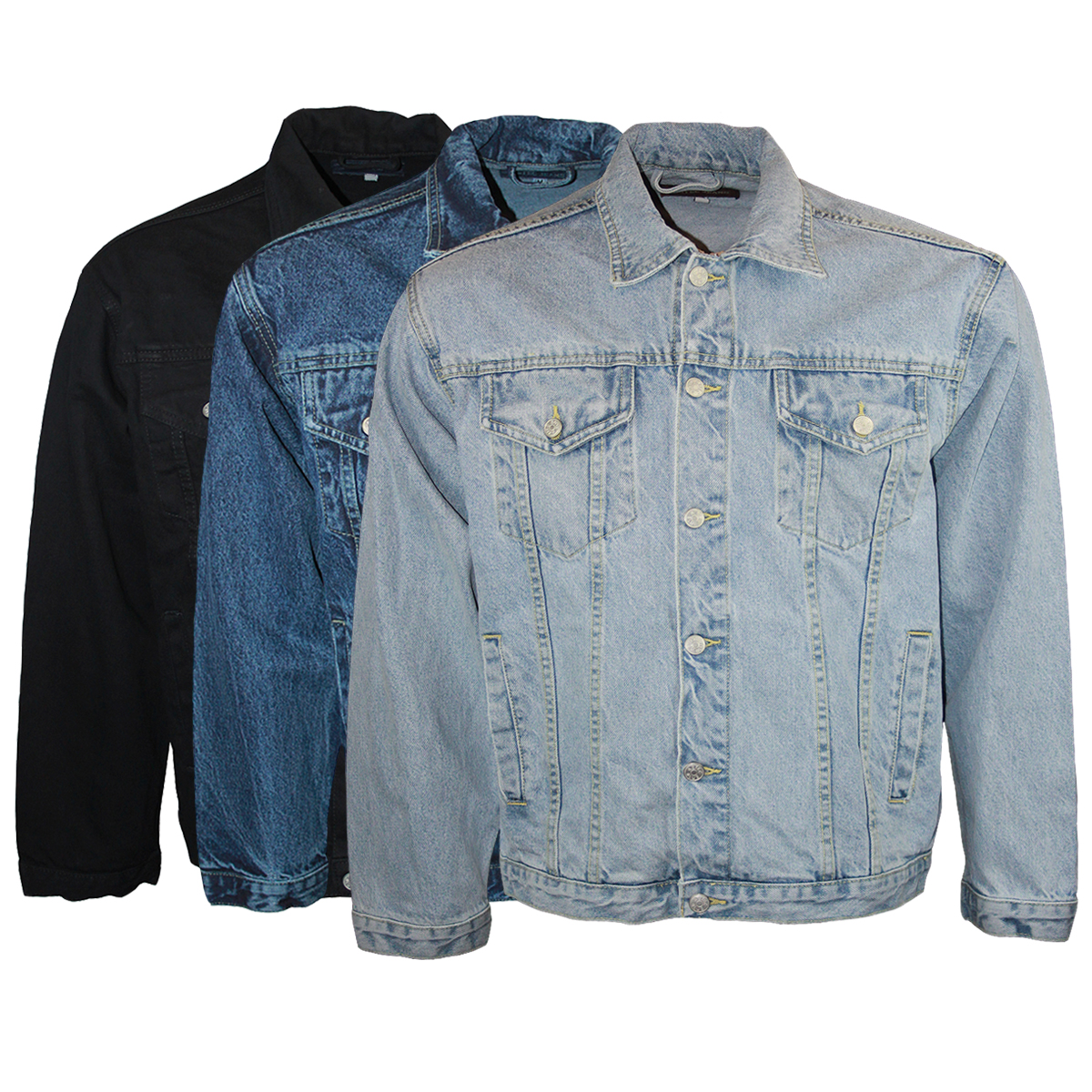 BB MENS AZTEC JEANS LONG SLEEVED COLLARED DENIM JACKET TOP BIG ...