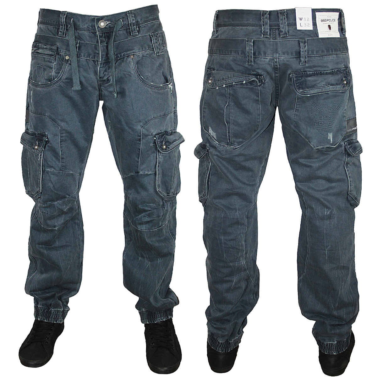 new mens blue 883 police kaluga tapered cuffed cargo jeans