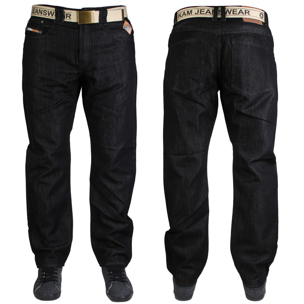 BLACK INDIGO KAM MENS K122-72 SLIM FIT DESIGNER JEANS ALL WAIST