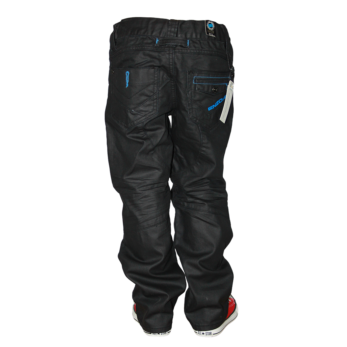 a091e25c3848 KIDS BOYS BLACK ZE ENZO EZB110 DESIGNER TAPERED FIT DENIM JEANS ALL ...