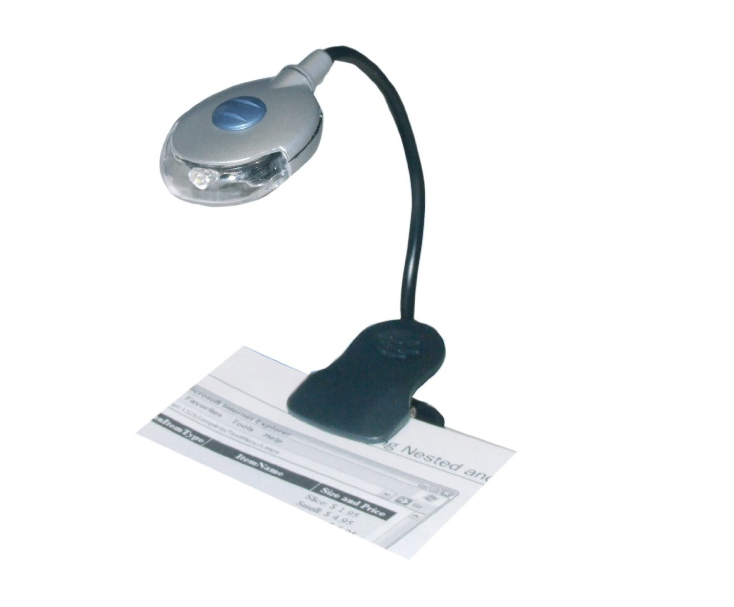 Silver LED Book Reading Light With Clip