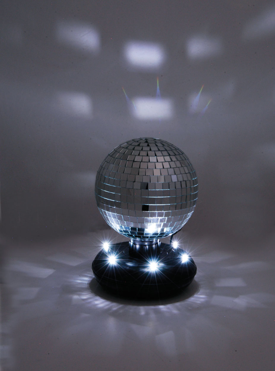 15cm 6 Inch Free Standing Rotating Mirror Ball With Led