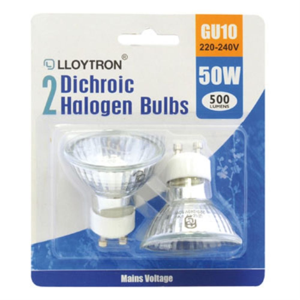 gu10 50w 220 240v dichroic halogen bulb double blister card lamp light bulb ebay. Black Bedroom Furniture Sets. Home Design Ideas