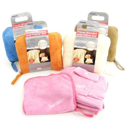 travel blanket and inflatable pillow set pink buy online