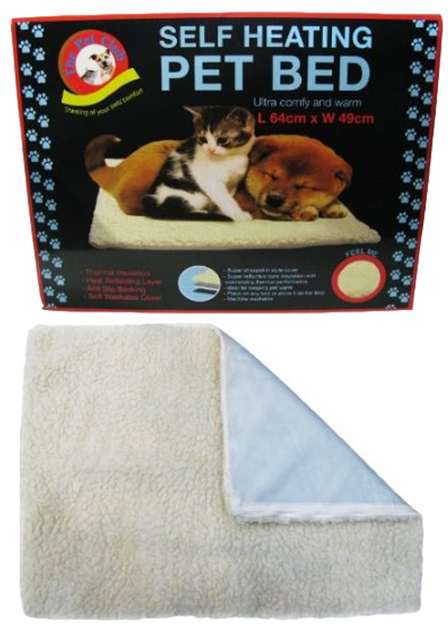 self heating cat dog anti slip fleece thermal washable