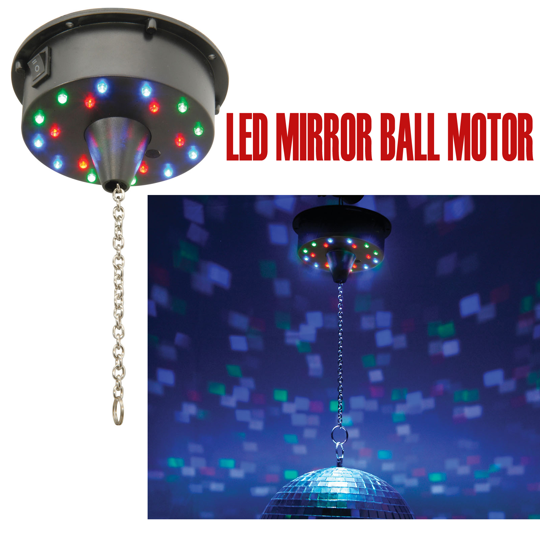 qtx battery operated 18 focused led mirror ball motor 6rpm ebay. Black Bedroom Furniture Sets. Home Design Ideas