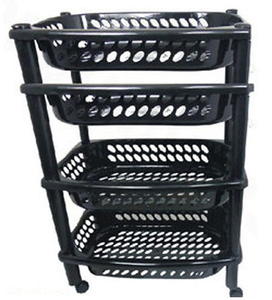 4 tier plastic fruit vegetable kitchen storage rack trolley cart shelf 4 wheels ebay. Black Bedroom Furniture Sets. Home Design Ideas