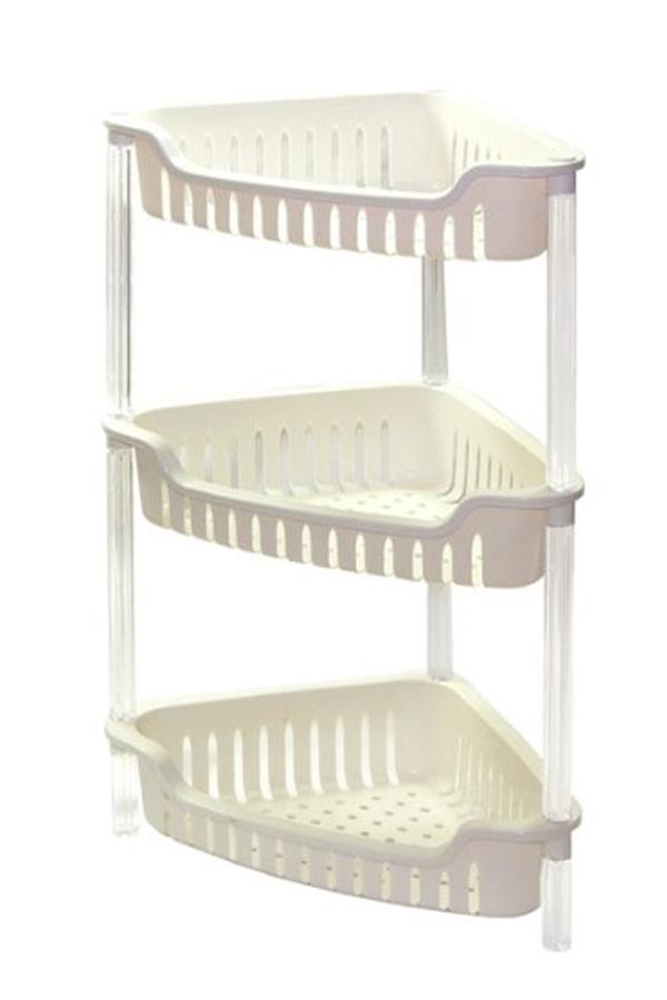 3 or 4 tier white corner triangular plastic bathroom. Black Bedroom Furniture Sets. Home Design Ideas