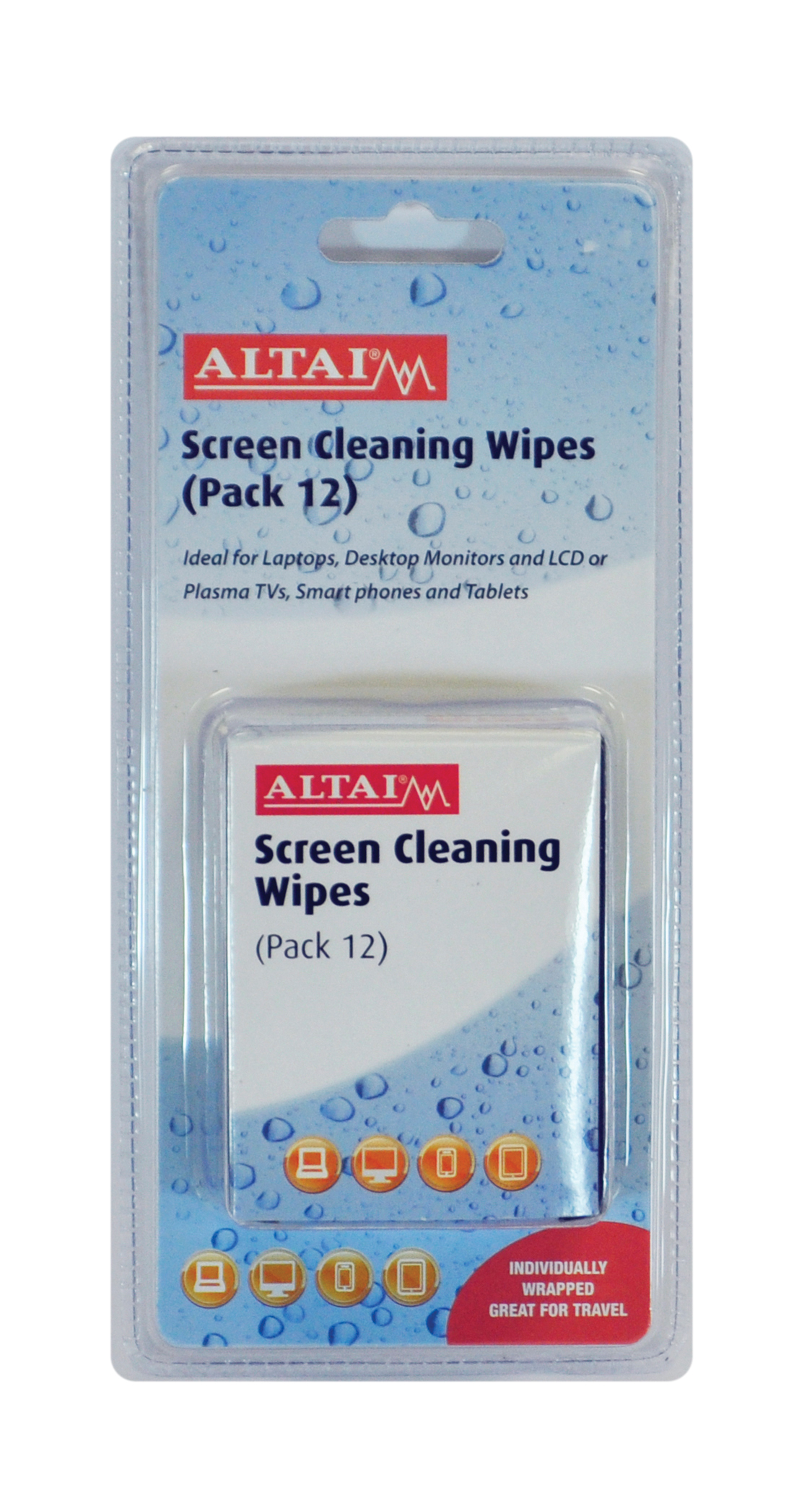 screen cleaning wipes pack 12 foiled for tv lcd plasma. Black Bedroom Furniture Sets. Home Design Ideas