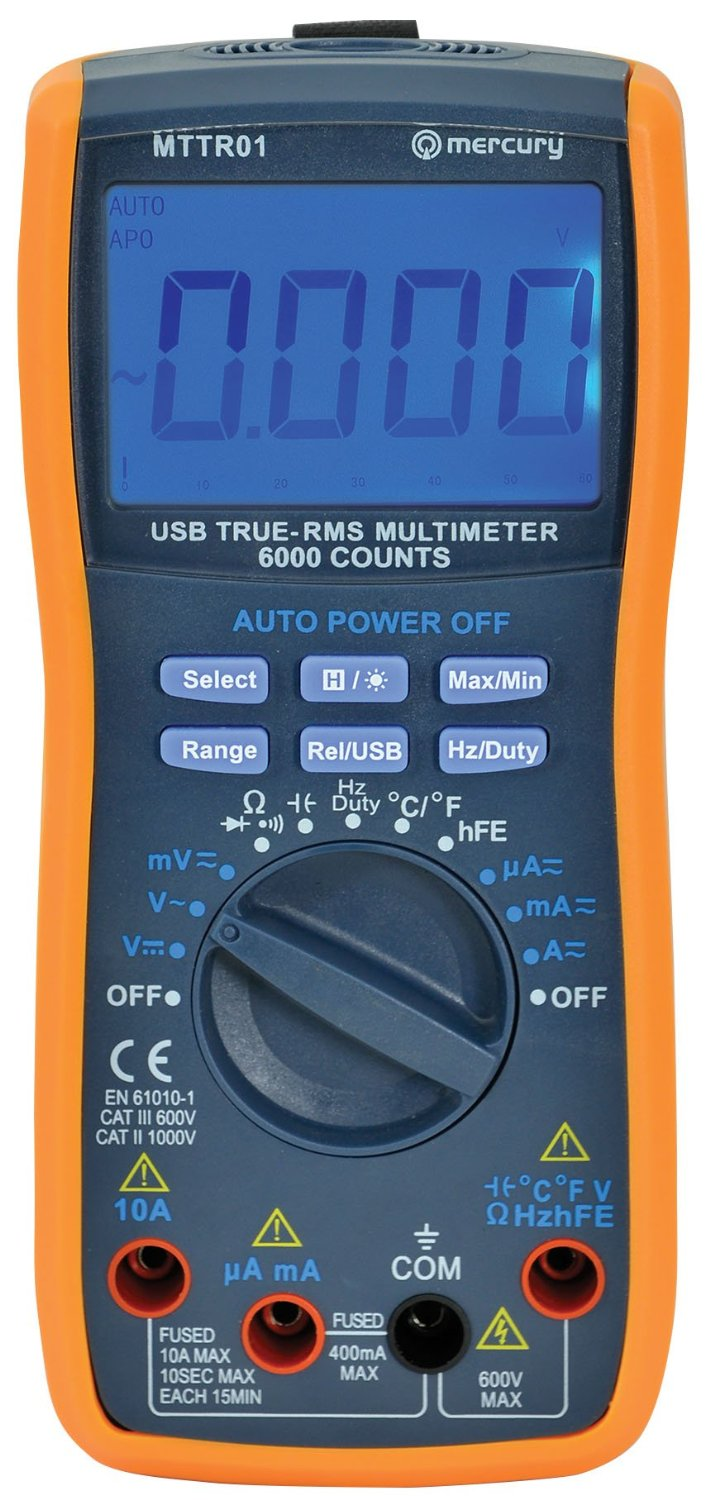 True Rms Meter : True rms multimeter with usb interface software supplied