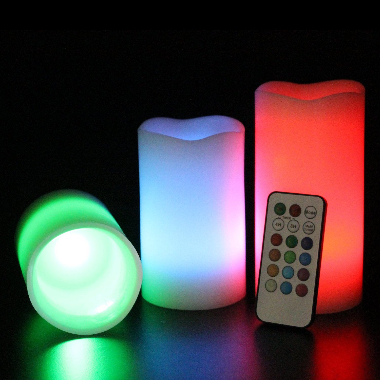 3 Colour Changing LED Flameless Wax Mood Candles with ...