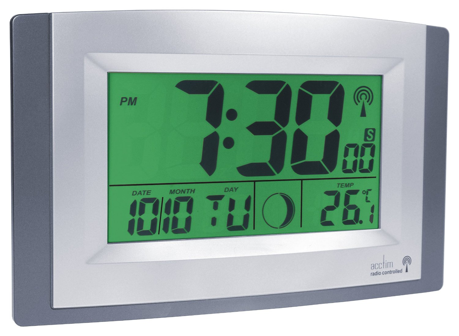 Acctim Smartlite Radio Controlled Desk Clock Or Lcd Silver Wall