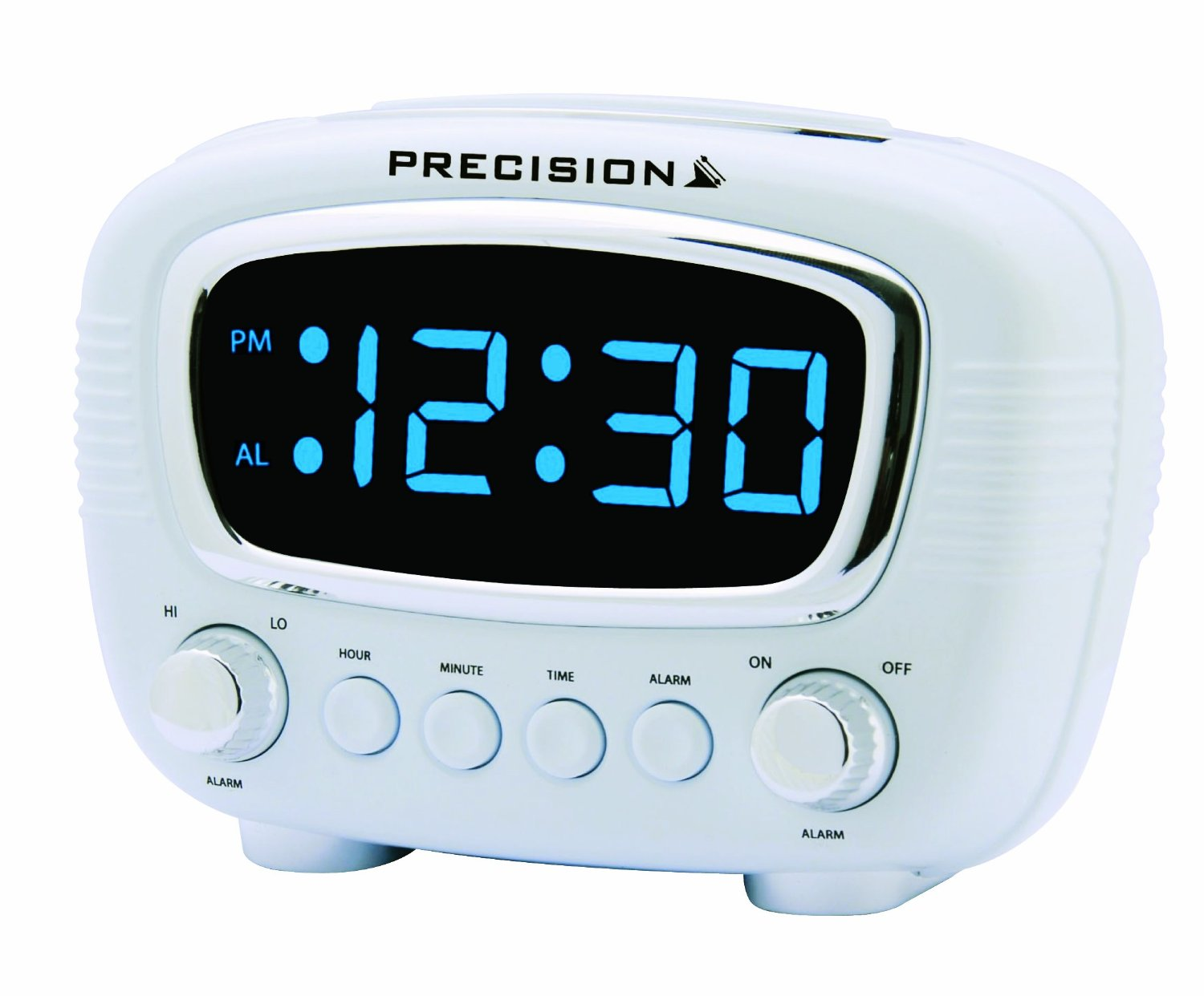 precision radio controlled retro alarm clock with led blue display prec0071 ebay. Black Bedroom Furniture Sets. Home Design Ideas