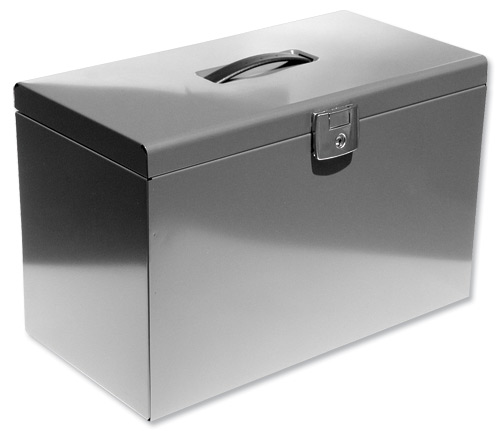 288289 Silver metal foolscap file box 040128 X 1 Work/Office/School/New