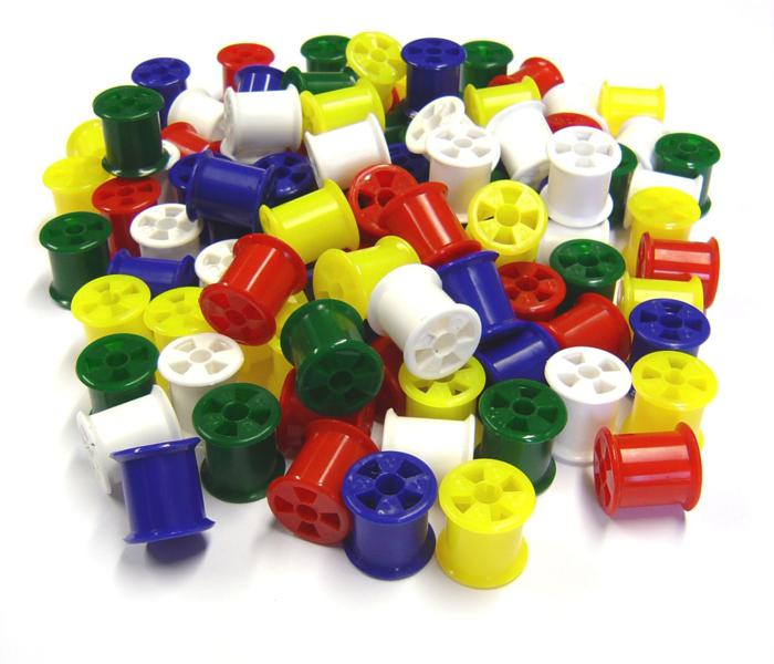 Coloured Plastic Cotton Reels School Packx Pk 100 Work/School/New