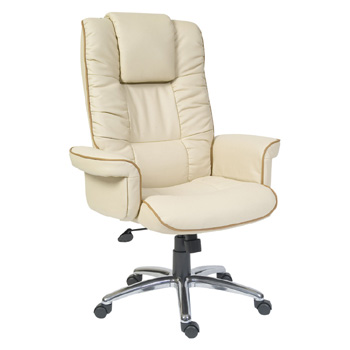 Windsor Luxury Cream Executive Leather Swivel Office Arm Chair EBay